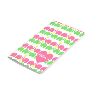 Pink and Green Elephant Pattern with Name Journal
