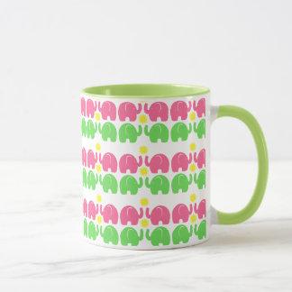 Pink and Green Elephants with Flower Mug