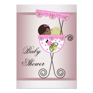 Pink and Green Ethnic Baby Girl Shower Invitations