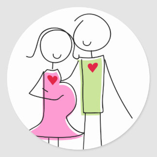 Pink and Green, Expecting Couple Classic Round Sticker
