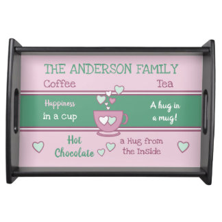 Pink and green Family coffee tea hot chocolate Serving Tray