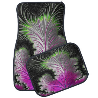 Pink and Green Feather Design Set of 4 Car Mats