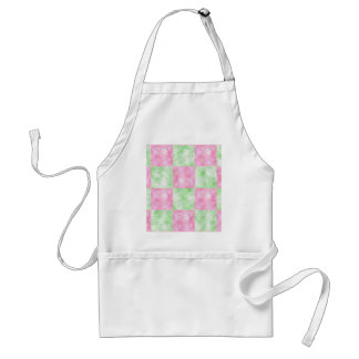 Pink and green floral abstract pattern standard apron