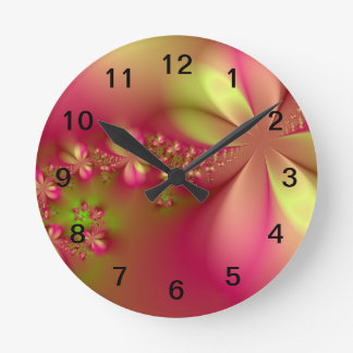 Pink and Green Floral Fractal Wall Clock