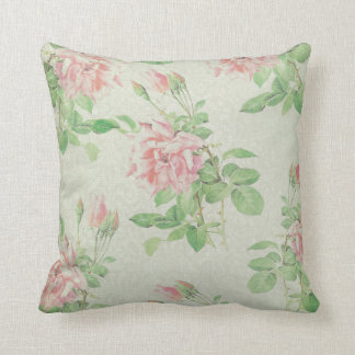 Pink and Green Floral Pillow