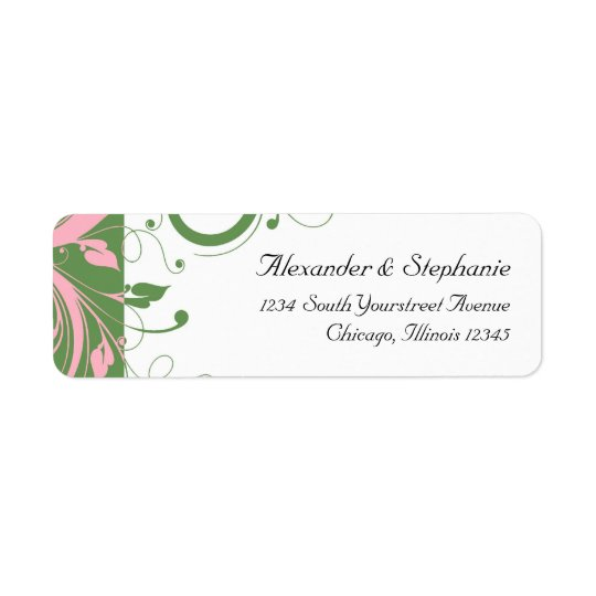 Pink and Green Floral Swirl Wedding Return Address Label
