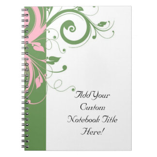 Pink and Green Floral Swirl Wedding Spiral Notebook