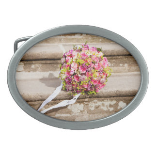 Pink and Green Floral Wedding Bouquet Belt Buckles