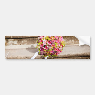 Pink and Green Floral Wedding Bouquet Bumper Sticker