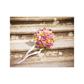 Pink and Green Floral Wedding Bouquet Canvas Print