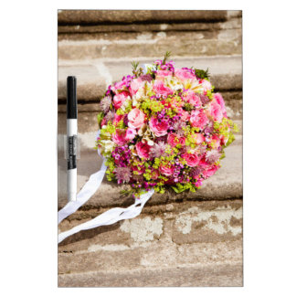 Pink and Green Floral Wedding Bouquet Dry Erase Board