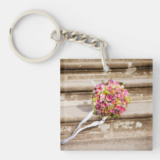 Pink and Green Floral Wedding Bouquet Key Ring