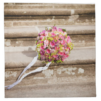 Pink and Green Floral Wedding Bouquet Napkin