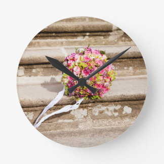Pink and Green Floral Wedding Bouquet Round Clock
