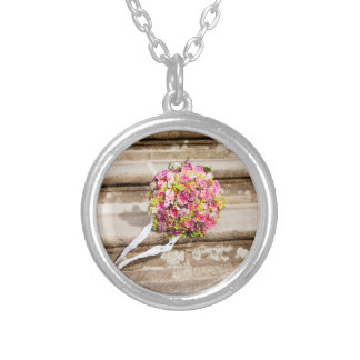 Pink and Green Floral Wedding Bouquet Silver Plated Necklace