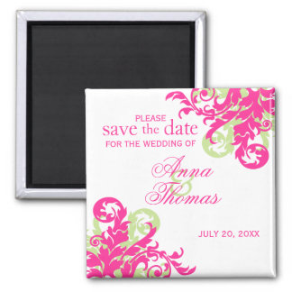 Pink and Green Flourish Save The Date Magnet