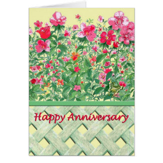 Pink and Green Flower Border Anniversary Card