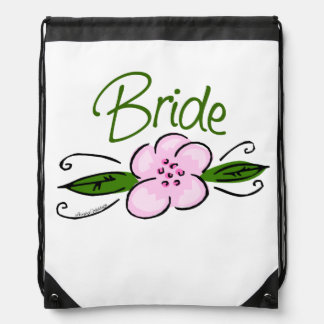 Pink and Green Flower Design Bride Backpacks