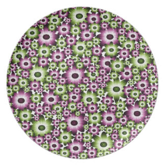 Pink and Green Flower Pile Up Party Plate