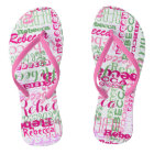 Pink and Green Fun Name Collage Allover Print Thongs