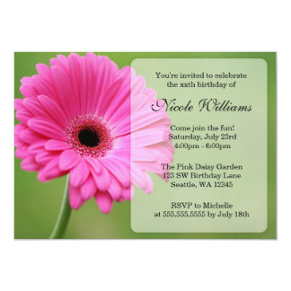 Pink and Green Gerbera Daisy Birthday Party 5x7 Paper Invitation Card