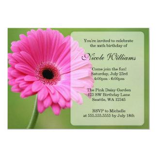 "Pink and Green Gerbera Daisy Birthday Party 5"" X 7"" Invitation Card"