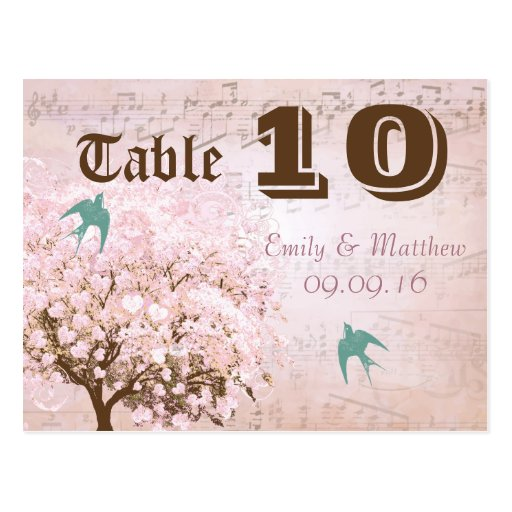Pink and Green Heart Leaf Tree Table Number Post Card