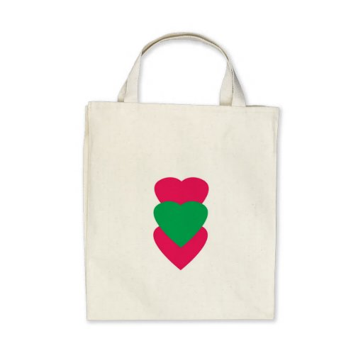 Pink and Green Hearts Small Tote Bags