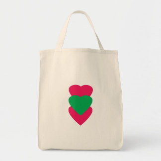 Pink and Green Hearts Small Tote Grocery Tote Bag