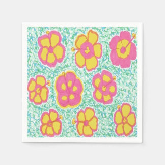 Pink and Green Hibiscus Print Paper Napkins