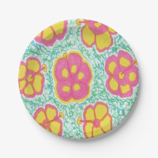 Pink and Green Hibiscus Print Paper Plates