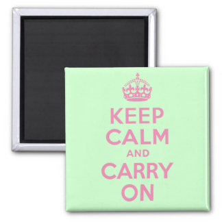 Pink and Green Keep Calm And Carry On Square Magnet