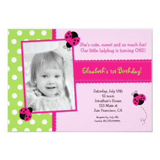 Pink and Green Ladybug BIrthday Party Invitations