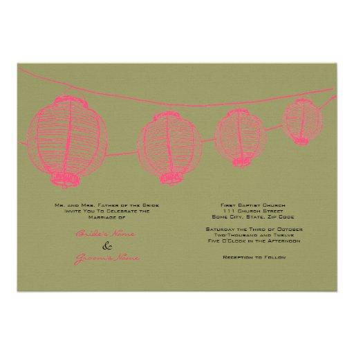 Pink and Green Lanterns Wedding Invitation