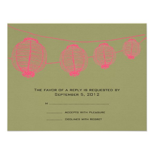 Pink and Green Lanterns Wedding RSVP Personalized Invite