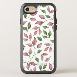 Pink and Green Leaves on White OtterBox Symmetry iPhone 8/7 Case