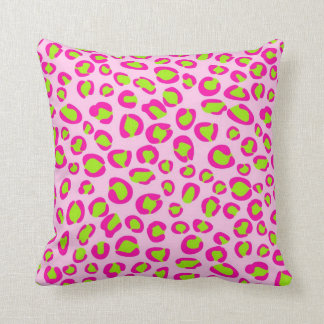 Pink and green leopard print throw pillow