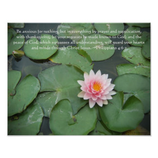 Pink and Green Lily Pad Flower w/Bible Verse Poster