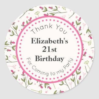 Pink and Green Long Stem Wildflowers Birthday Classic Round Sticker