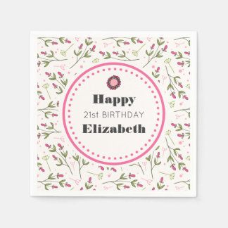Pink and Green Long Stem Wildflowers Birthday Disposable Napkin