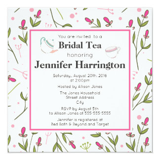 Pink and Green Long Stem Wildflowers Bridal Tea Card