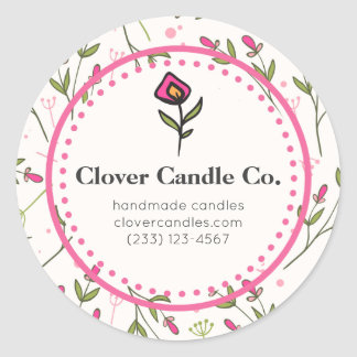 Pink and Green Long Stem Wildflowers Business Classic Round Sticker
