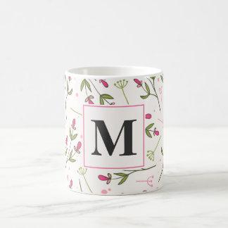 Pink and Green Long Stem Wildflowers Monogram Coffee Mug