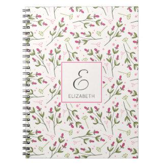 Pink and Green Long Stem Wildflowers Monogram Spiral Notebook