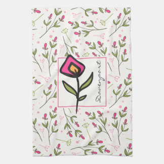 Pink and Green Long Stem Wildflowers Personalized Tea Towel