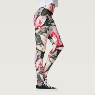 Pink and Green Lotus arty print Leggings