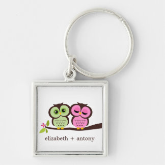 Pink and Green Owl Couple Key Ring