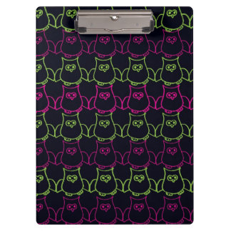 Pink and Green Owl Pattern on Black Clipboard