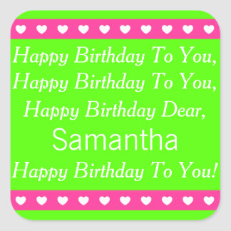 Pink and Green Personalized Birthday Song Stickers