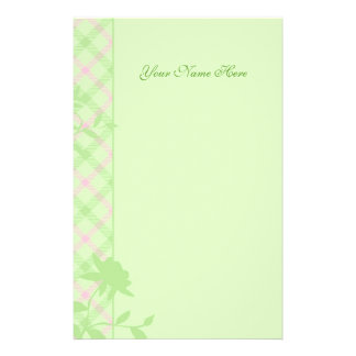 Pink and Green Plaid Stationery